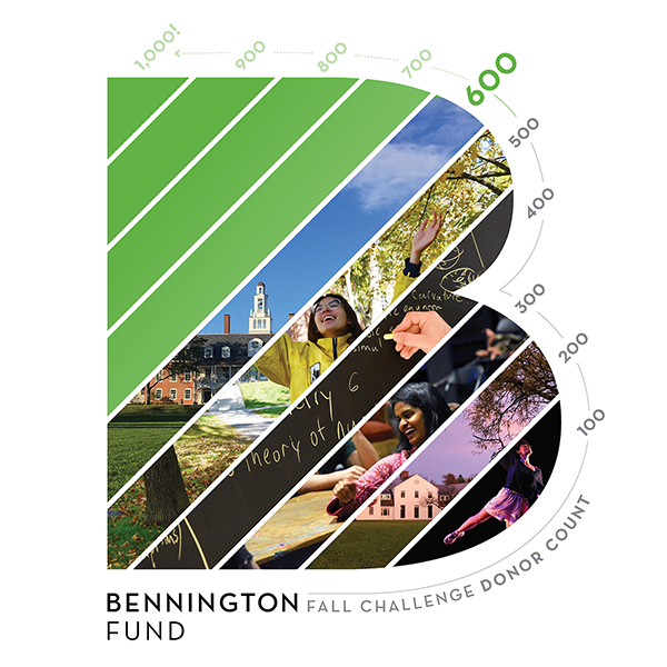 Bennington Fund tracking graphic showing progress at 400 donors to go