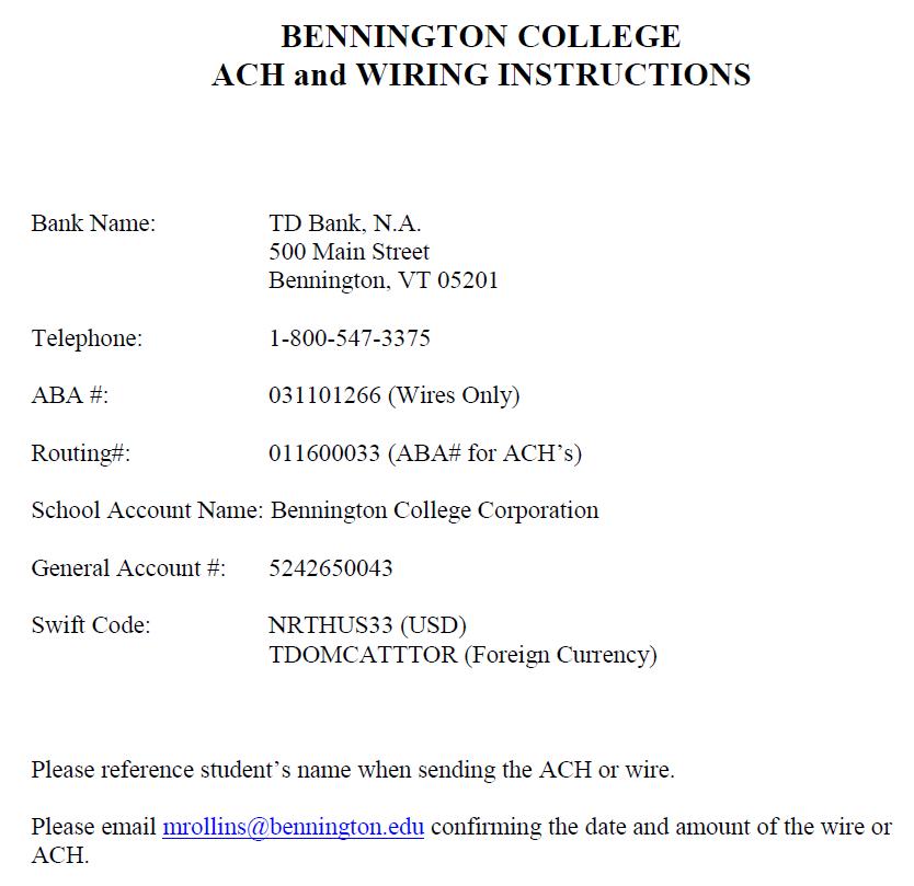 Phenomenal Student Billing Bennington College Wiring 101 Tzicihahutechinfo