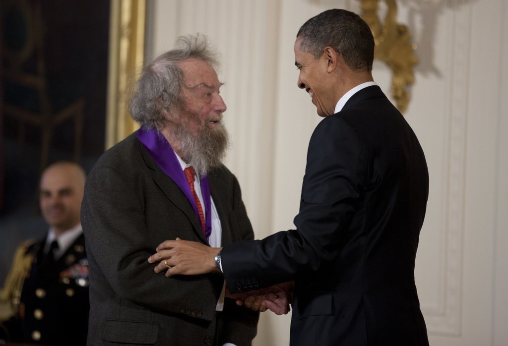 Donald Hall (left) President Obama (right)