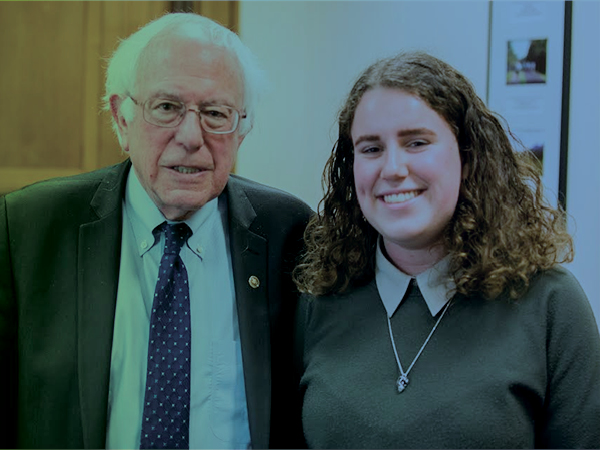Elizabeth Fox and Bernie Sanders
