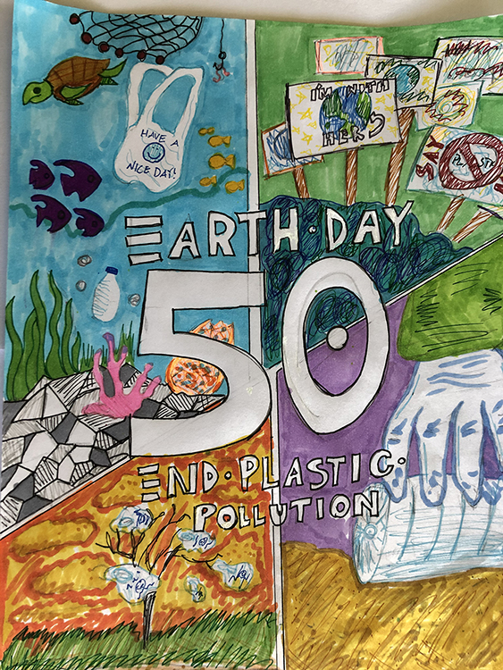 Poster with text Earth Day 50
