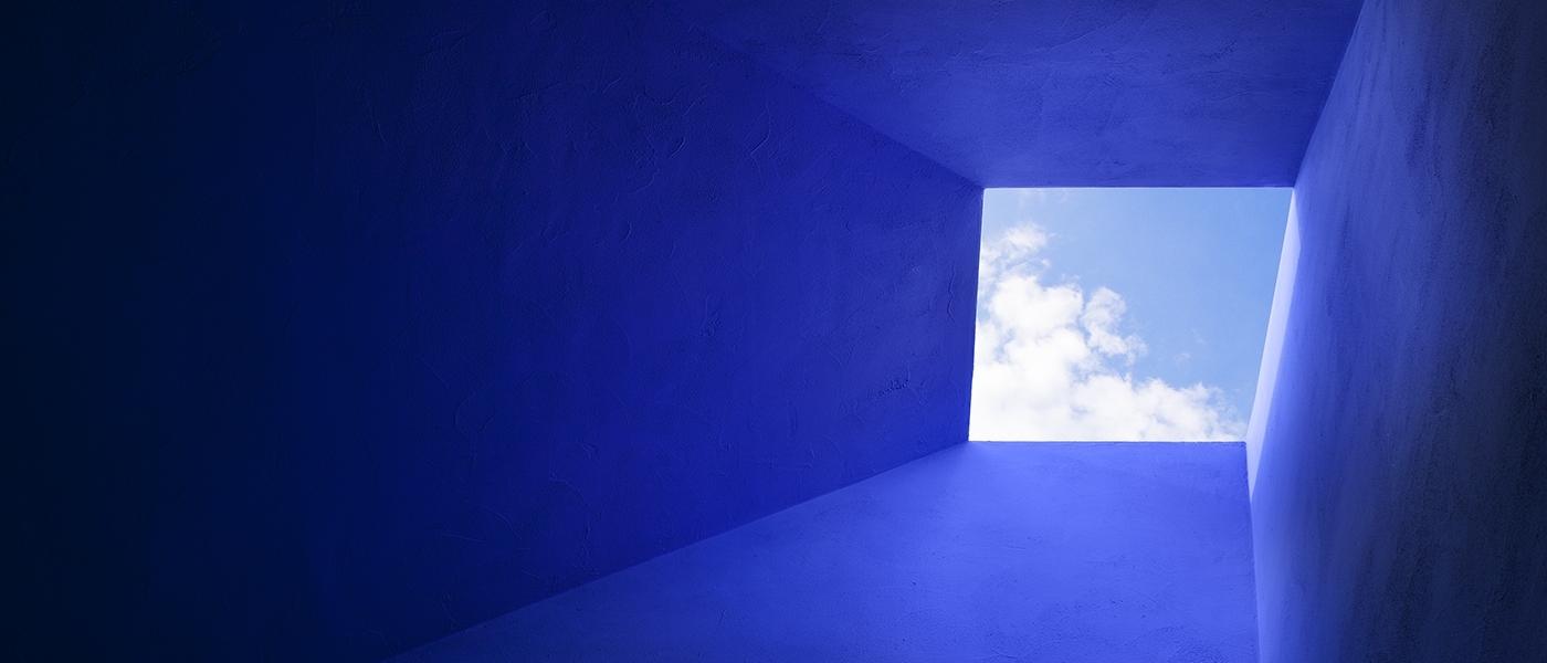blue capa ceiling with skylight