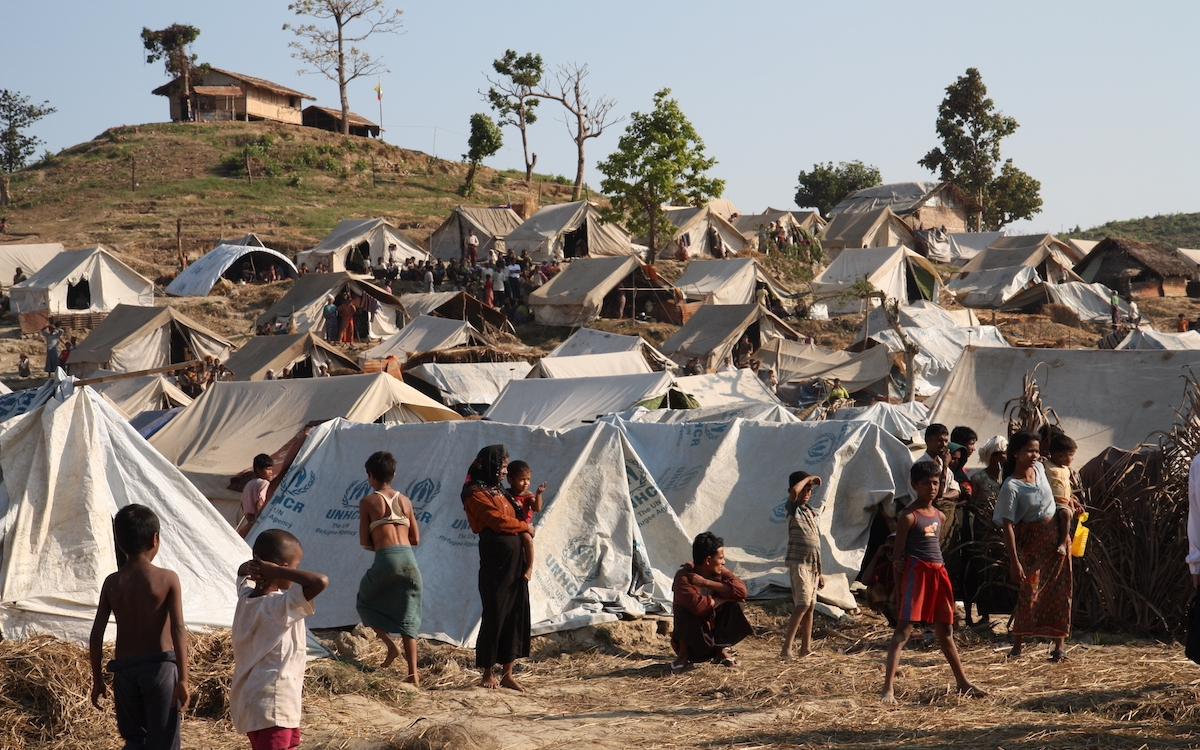 a UNICEF refugee camp full of people