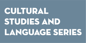 "White text saying ""Cultural Studies and Language Series"" against a blue background"