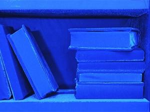 Photo of blue book shelf