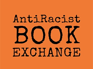 Image of Antiracist Book Exchange logo in orange