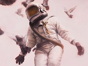 Image of astronaut surrounded by birds