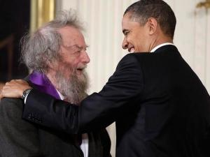 Donald Hall with President Barack Obama