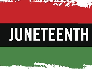 Image of Juneteenth on red black and green