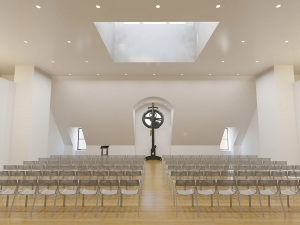 white room with rows of clear chairs