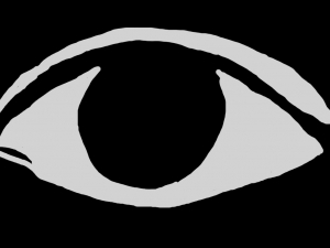 an eye with a black background