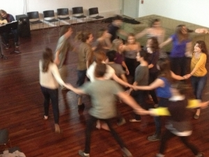 students contra dancing