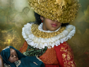 portrait painting style photo of a woman wearing an elizabethan ruff and holding a baby