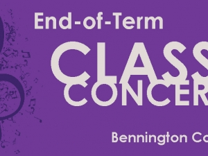 the words End of term class concerts on a purple background next to a musical note