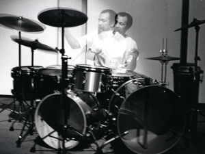 black and white photo of Milford Graves at a drum kit