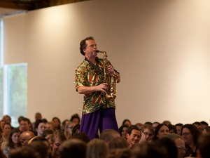 image of bruce williamson performing at convocation