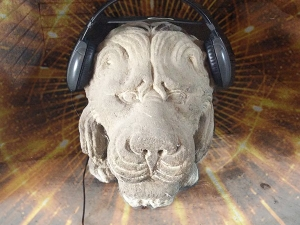 Stone Lion wearing Headphones