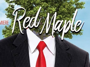 man's suit with red tie and with a tree where the head should be