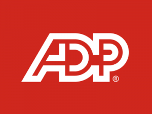 Capital letters ADP in white on red background
