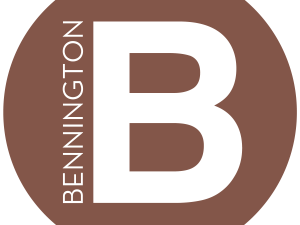 White capital B on a brown background, with the word Bennington aligned vertically next to it