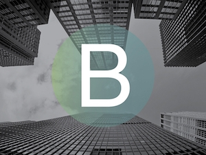skyscrapers and the B logo