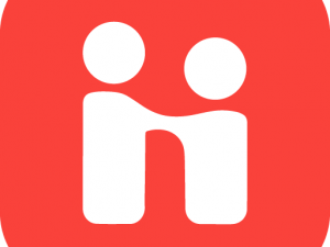 square red Handshake logo of two figures shaking hands