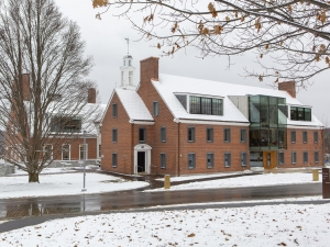 brick building (commons) in the snow