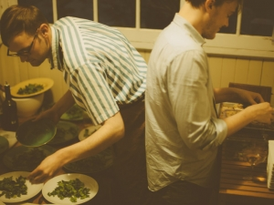 Andrew Barton and childhood friend plating