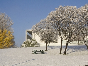 Bennington College campus in winter