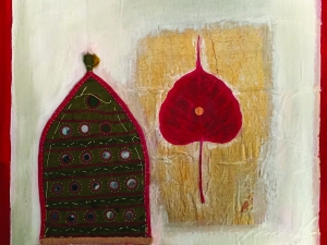 Caravanserai Red and Gold, mixed media collage on wood, 15 x 15 inches, 2017.jpg