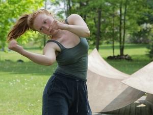 Chloë Engel dancing on VAPA lawn