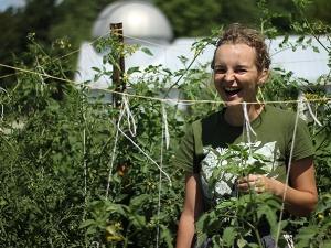 Student in campus garden