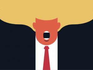 a color block drawing of donald trump