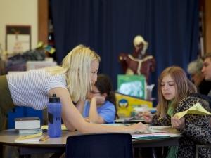 French student teaching elementary school children