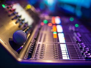 Sound mixing board and microphone