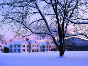 snowy college campus in pink evening light