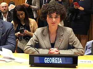 Photo of Lika Torikashvili at United Nations Assembly