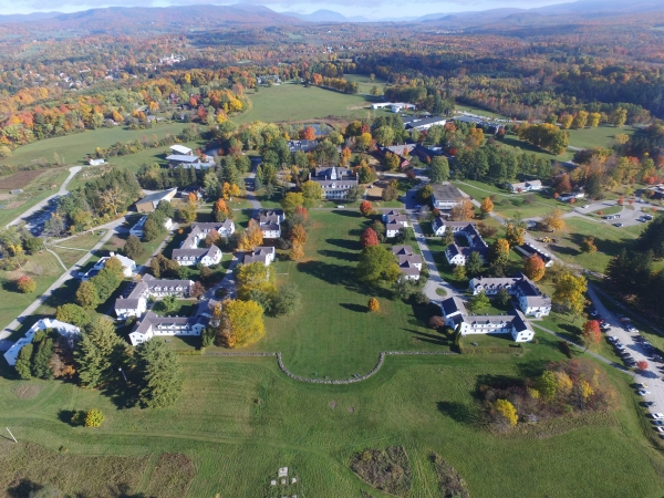 An image of the Bennington College campus from above