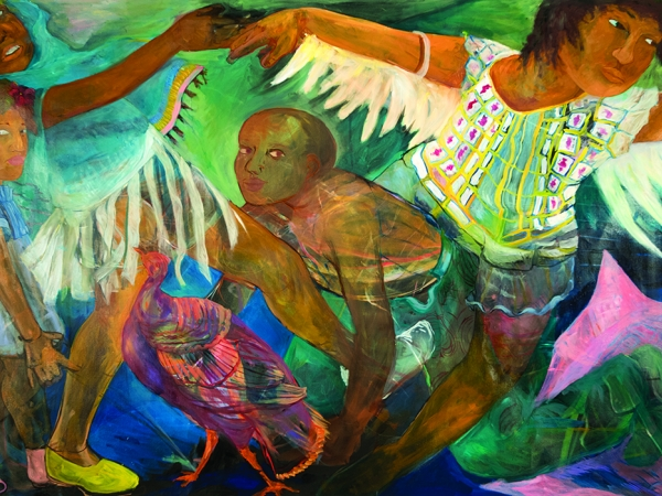 four of human figures dancing and interwoven together painted in bright colors in a dream landscape