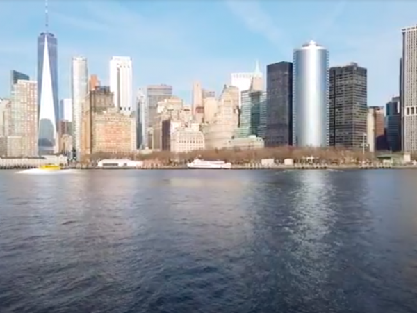 view from across the river to the new york city skyline