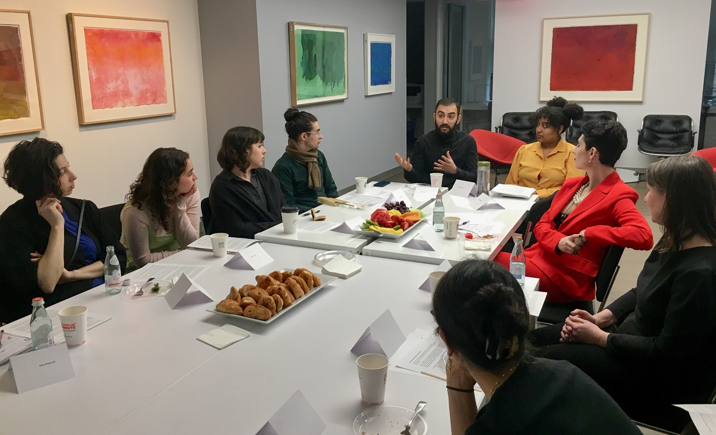 students in conversation with internship supervisors at the Helen Frankenthaler Foundation