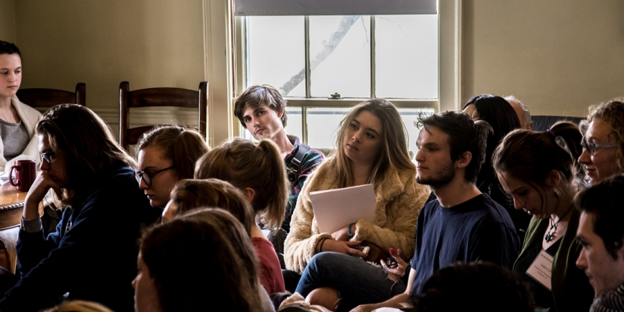 group of students at a literature reading