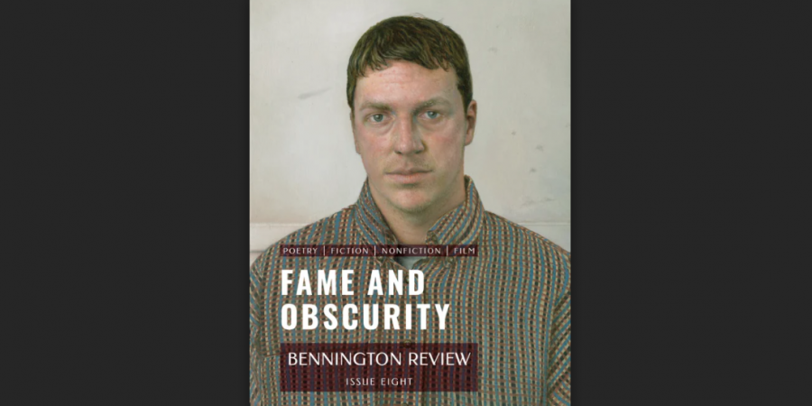 The cover of Bennington Review Issue 8. A man's bust with a title.