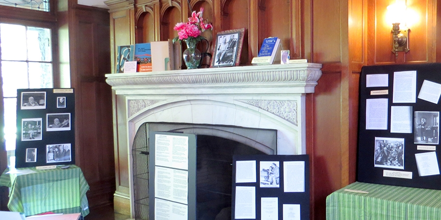 the display up in Jenning's lobby- poster boards and fireplace
