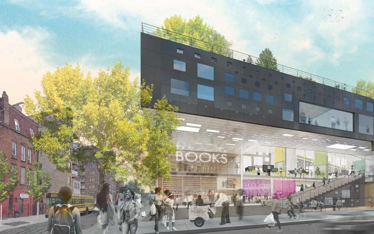 An architects rendering of a sleek modern urban angular building on a sunny street