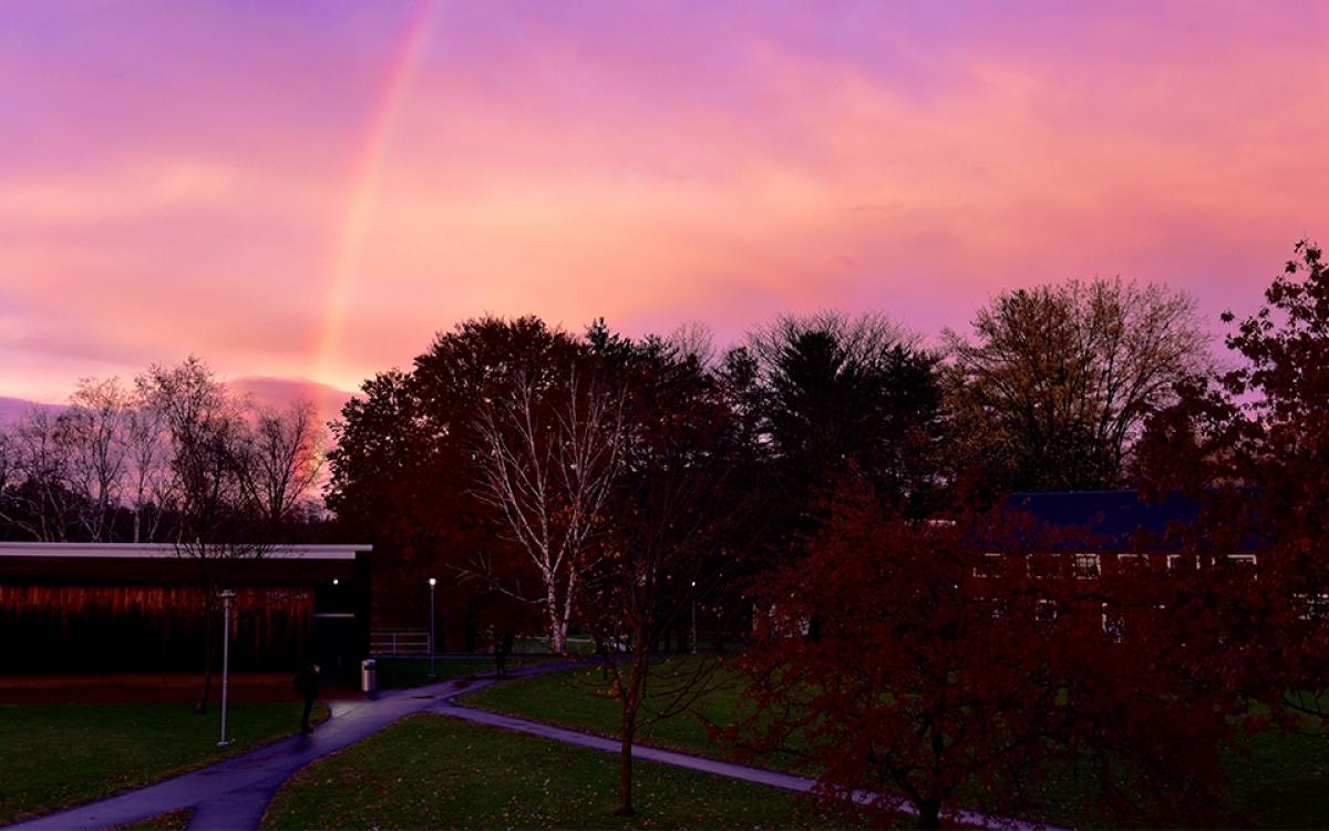 Photo of rainbow over Bennington College's campus