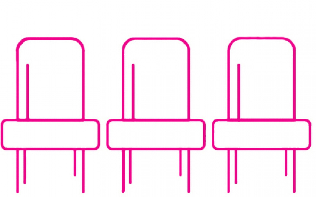 the outline of three chairs rendered in angular pink lines
