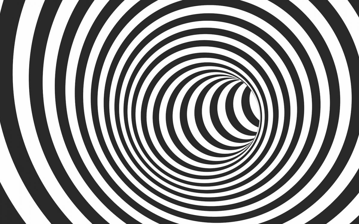 black and white striped curving tunnel graphic