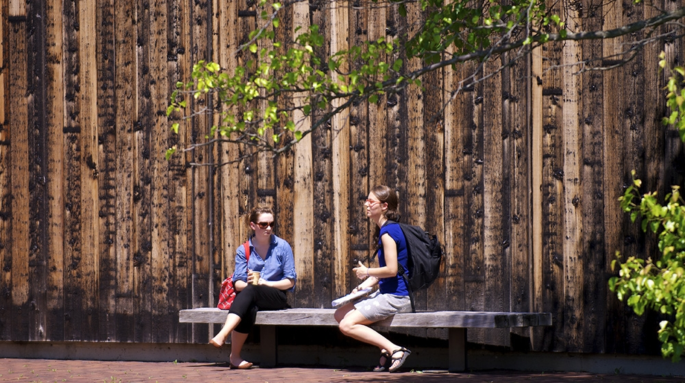 two students sitting on a bench talking on a spring day