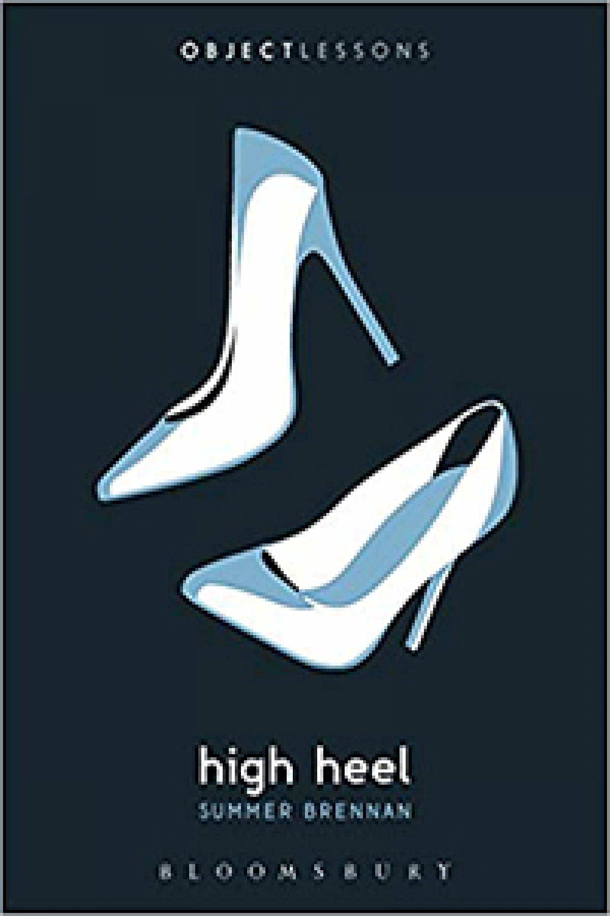 White high hill shoes on a book cover